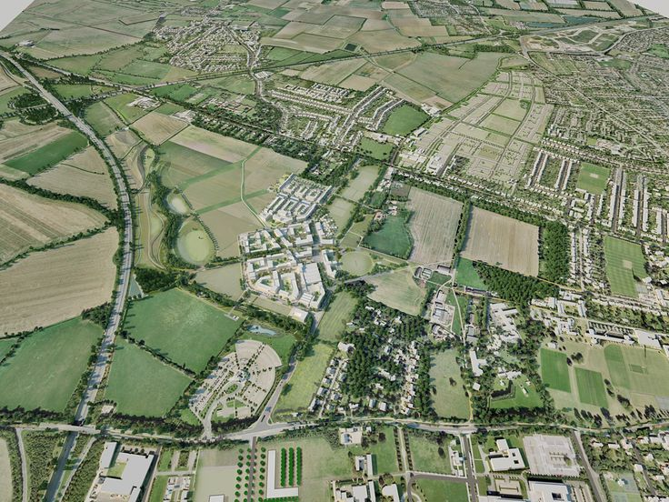 Cambridge University Announces Preferred Architects for North West Cambridge Development | Aerial photo of the development area | Bustler.net