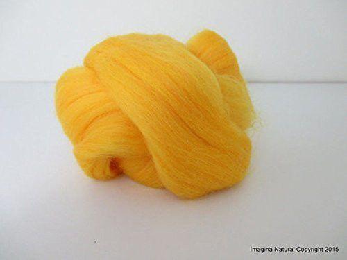 Free Shipping Yellow Handmade Merino Roving Wool Hand Spinning Felting Fibre Araucania Craft Art Chilean Knitting Chunky 18 Micron