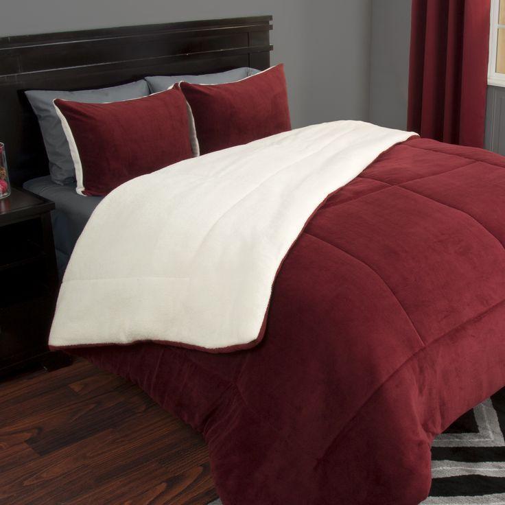 Lavish Home 3 Piece Sherpa/Fleece Comforter Set - King - Burgundy, Red