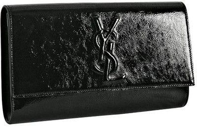 On my wishlist: Yves Saint Laurent black patent 'Belle De Jour' flap clutch at Bluefly