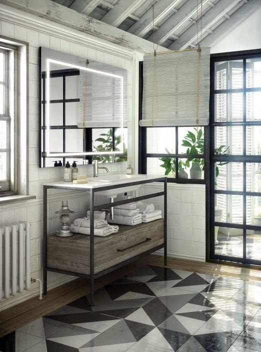Muebles de baño personalizados, hechos a medida.  PLANTEAMIENTO 1. No podemos sujetar el mueble en la pared. 2. Integrar un mueble moderno en una casa antigua en la que conviven distintos estilos. SOLUCIÓN 1. Mueble sobre soporte metálico. 2. Combinación de materiales creando un estilo ecléctico-vintage adaptado al espacio.