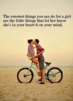 The sweetest thing you can do for a girl love summer kiss quote beach couple bike lovequote