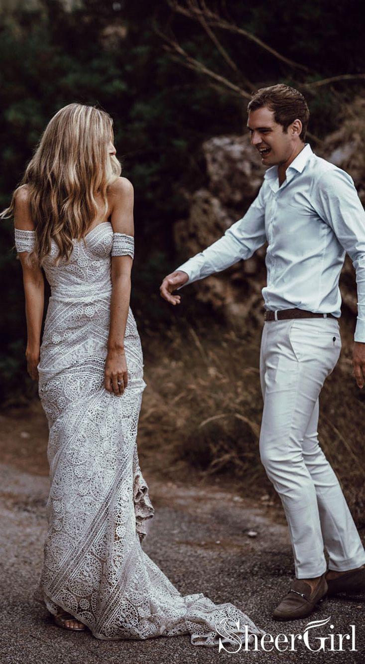 Best wedding dresses for 50 year olds  Ivory Lace Beach Wedding Dresses Sweetheart Neck Rustic Boho Wedding