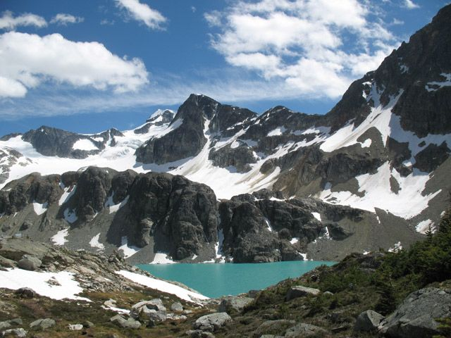 Wedgemount Lake:  Region: Whistler, 20 mins from Whistler Alpine Chalet  Difficulty: Difficult  Time: 7 hours  Distance: 14km  Elevation Gain: 1160 m  Camping: Yes