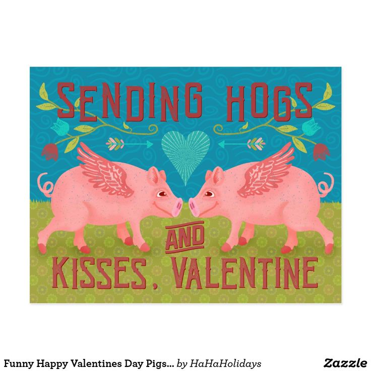 Funny Pigs Happy Valentine's Day Card for Kids In The Classroom from Zazzle