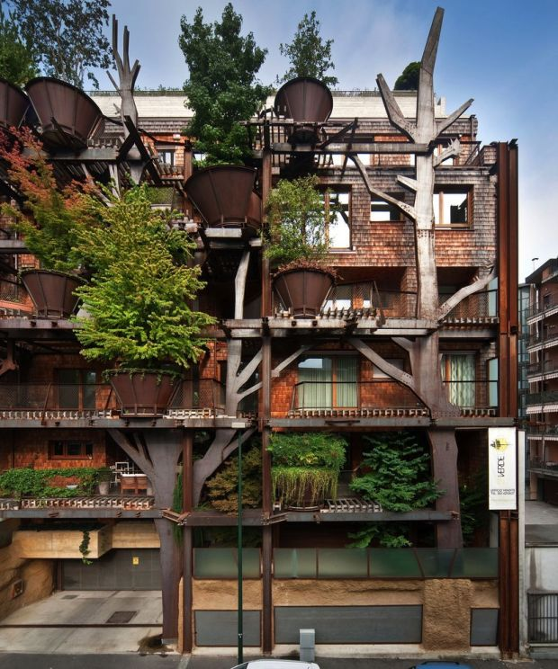 somebody built a giant tree house apartment complex in the middle of turin italy green architecturearchitecture designturin