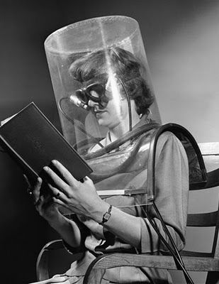This looks futuristic, but seems to be some kind of reading aid....those crazy '50s.