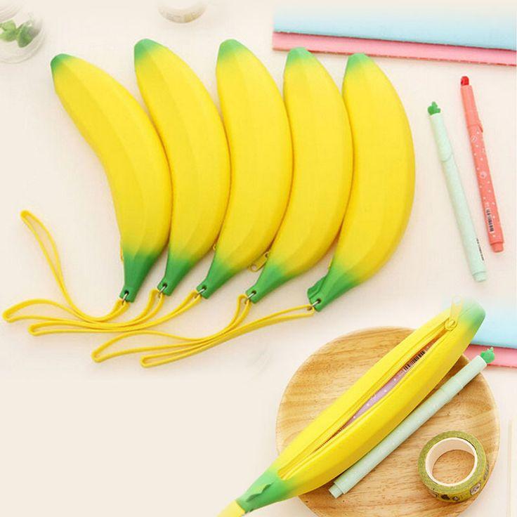 1 шт. новинка банан карандаш чехол kawaii карандаш сумка портмоне резиновая монета фундаменталь estuches школьные принадлежности канцелярские купить на AliExpress