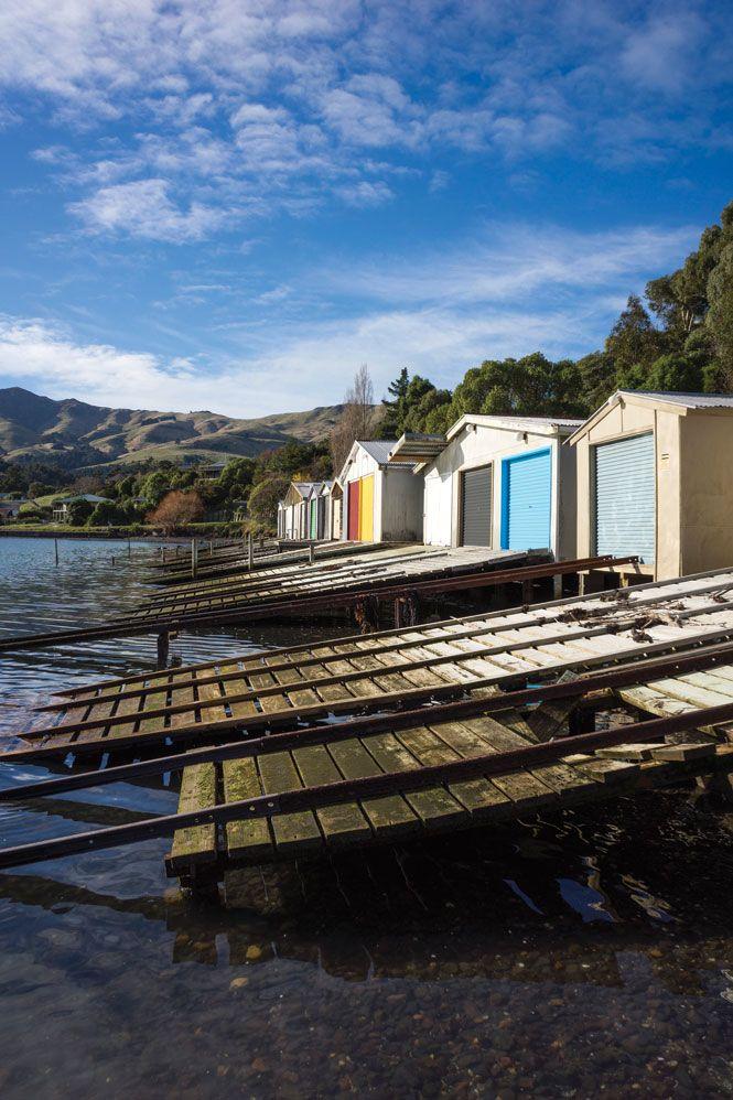 Boat sheds in Akaroa.