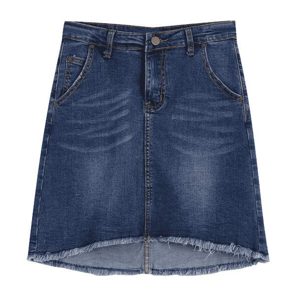 Fringed High Low Mini Denim Skirt (€19) ❤ liked on Polyvore featuring skirts, mini skirts, zaful, blue denim skirt, mullet skirt, hi lo skirt, blue hi low skirt and fringe mini skirts