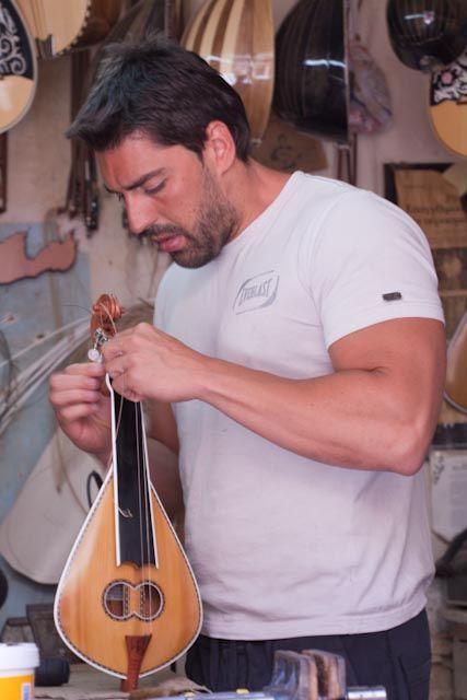 Lyre maker, finishing Cretan Lyre, Rethymno |Crete, Greece