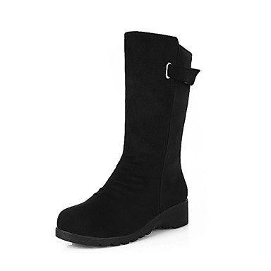 l 'daim / la mode des femmes à semelles épaisses mi-mollet bottes de coin avec boucle (plus de couleurs) – EUR € 18.82