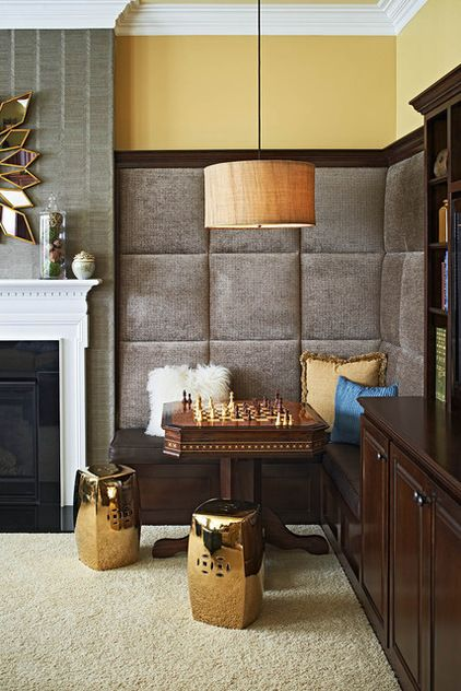 contemporary family room by Reliving Interiors.  I love the wall treatment.