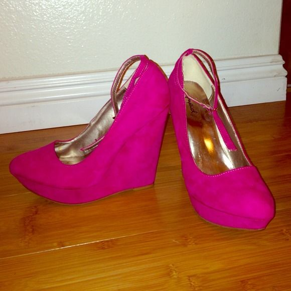 Hot pink pumps size 38 or 7.5 Super cute hot pink wedges with ankle strap. Only worn twice! Would keep but too small for me. Qupid Shoes Heels