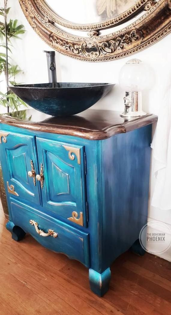 Sold Mermaid Northern Lights Peacock Bathroom Vanity With