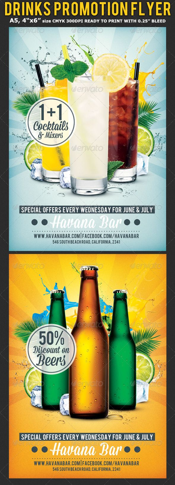 """Drinks Promotion Advertising Flyer Template is very modern psd flyer that will give the perfect promotion for your Happy Hour or drinks offers! All elements are in separate layers and all text is editable!  2 PSD files – A5 (15×21cm), 4""""x6"""" with 0.3mm bleed  Clearly labeled folders and layers.  CMYK – 300dpi – Ready to print with guides  2 Background Variations"""