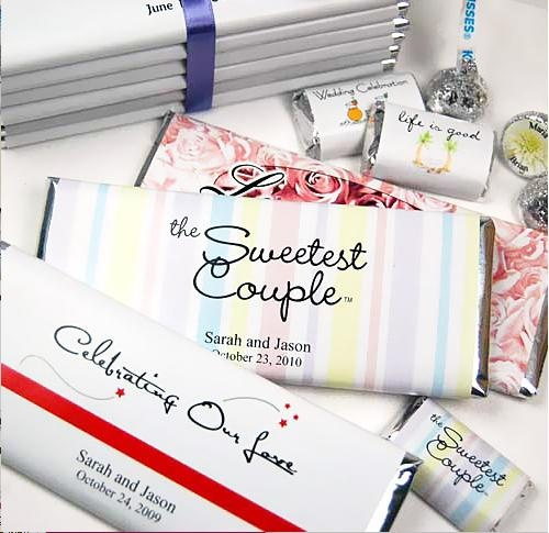 another cute wedding souvenir...chocolate! hershey's will make personalized chocolate bars :)