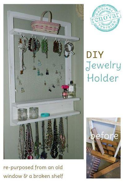 repurposed jewelry organizer made from an old window shelf, bathroom ideas, diy, organizing, shelving ideas, small bathroom ideas