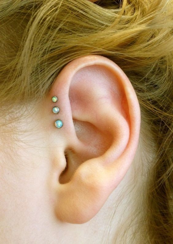 Exclusively at MyBodiArt - Opal Triple Forward Helix Piercing Jewelry Studs