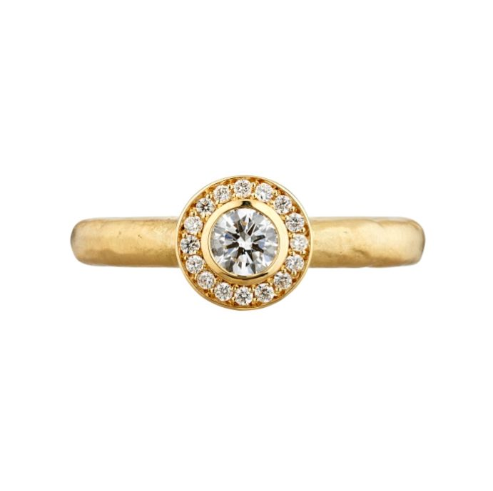 Molten halo ring in 18ct yellow gold