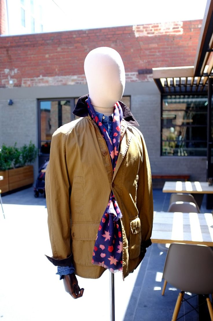 Barbour jacket   Richard James floral scarf and Gant chambray shirt  Allpress Espresso #menswear #mensfashion