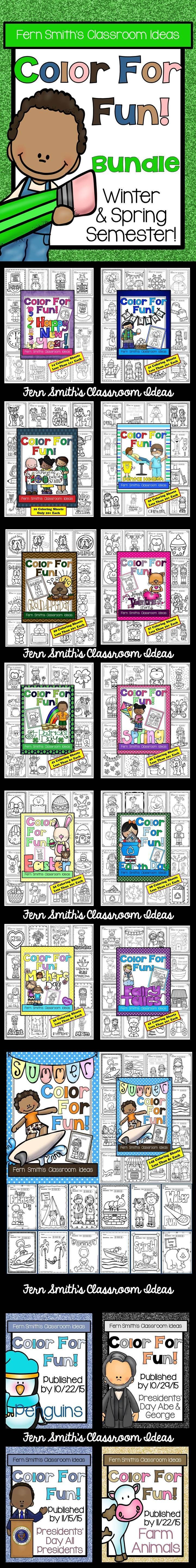 Color for Fun Second Semester Growing Bundle for July to December. #Free Fall Coloring Page in the Preview Download. Summer, Spring, Winter, New Year's Day, St. Valentine's Day, Dental Health, Groundhog Day, 100th Day of School, Fairy Tales, St. Patrick's Day, Easter, Mother's Day, Earth Day. #Bundle #TPT $Paid
