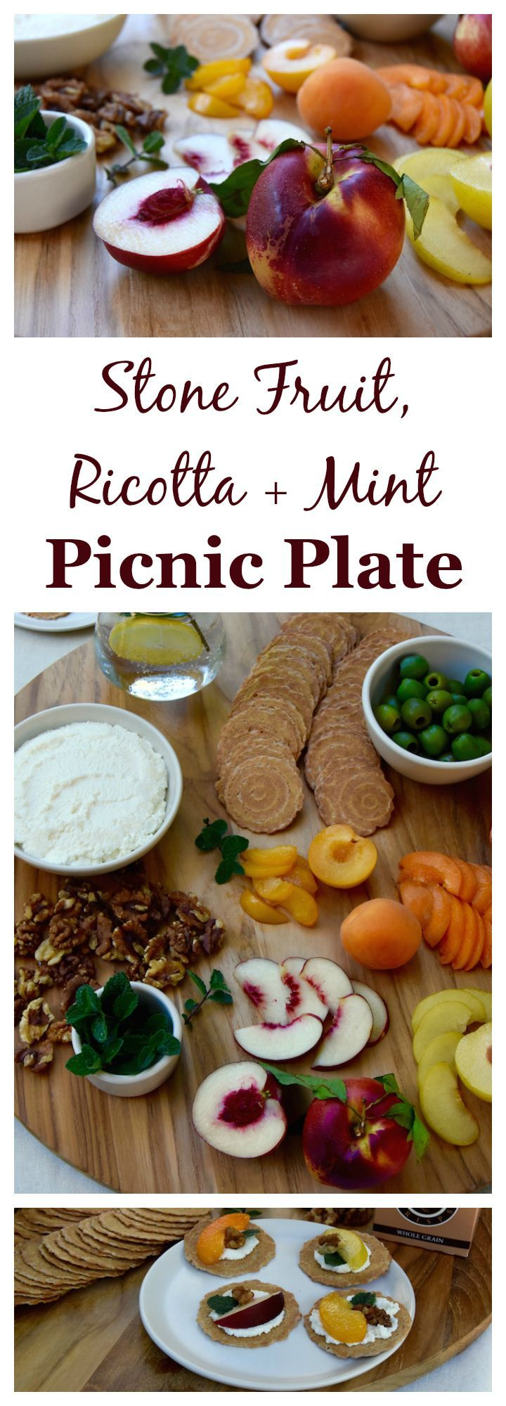 A simple combination of summer flavors, this Stone Fruit, Ricotta and Mint Picnic Plate is perfect for get togethers this summer. (ad)   uprootkitchen.com