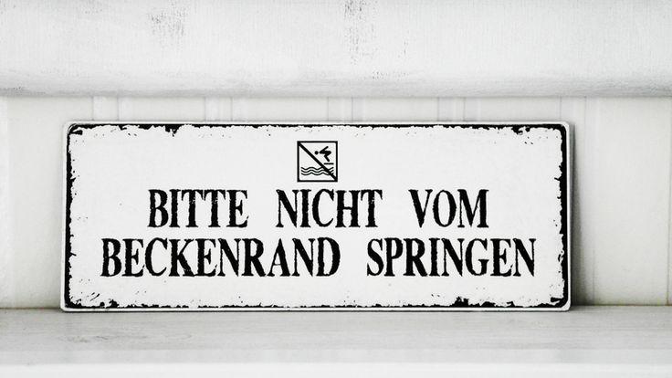Bad-Accessoires - Shabby Vintage Holz Schild BECKENRAND Nostalgie - ein Designerstück von homestyle-accessoires bei DaWanda
