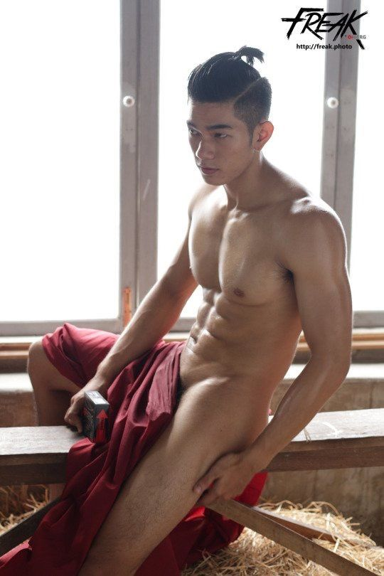 Handsome asia naked