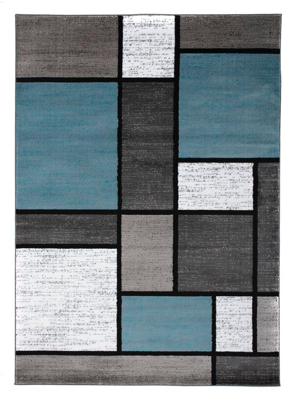 Barroso Geometric Blue Gray White Area Rug Accent Colors For Gray White Area Rug Teal And Grey