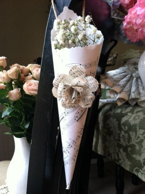 flowers and decorations for weddings sheet paper cone with vintage hymnal by 4246