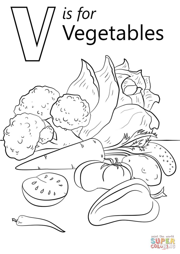 V is for Vegetables coloring page | Free Printable ...
