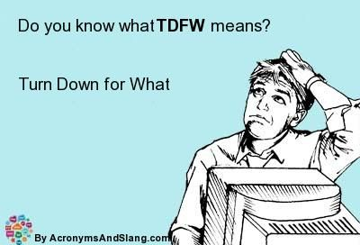What does TDFW mean? - Definition of TDFW - TDFW stands for Turn Down for What. By AcronymsAndSlang.com