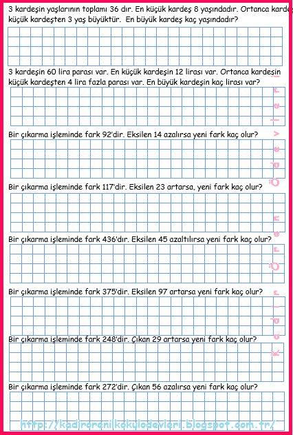 ilkokul ödevleri: 3. sınıf çıkarma işlemi problemleri 2