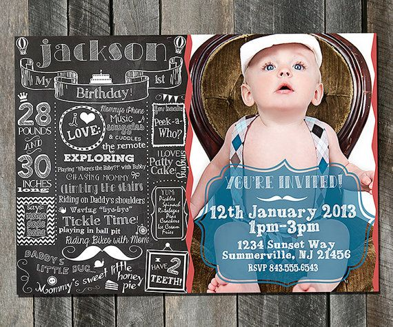 First Birthday Party Invitation Boy Chalkboard: 53 Best Images About Chalkboard On Pinterest