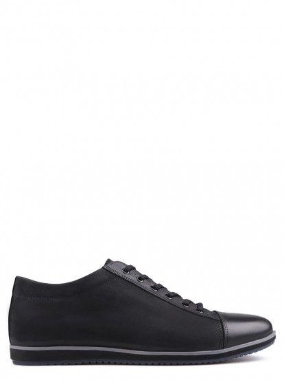Pantofi joși din piele naturală și velur natural pentru bărbați TENDENZ - negru