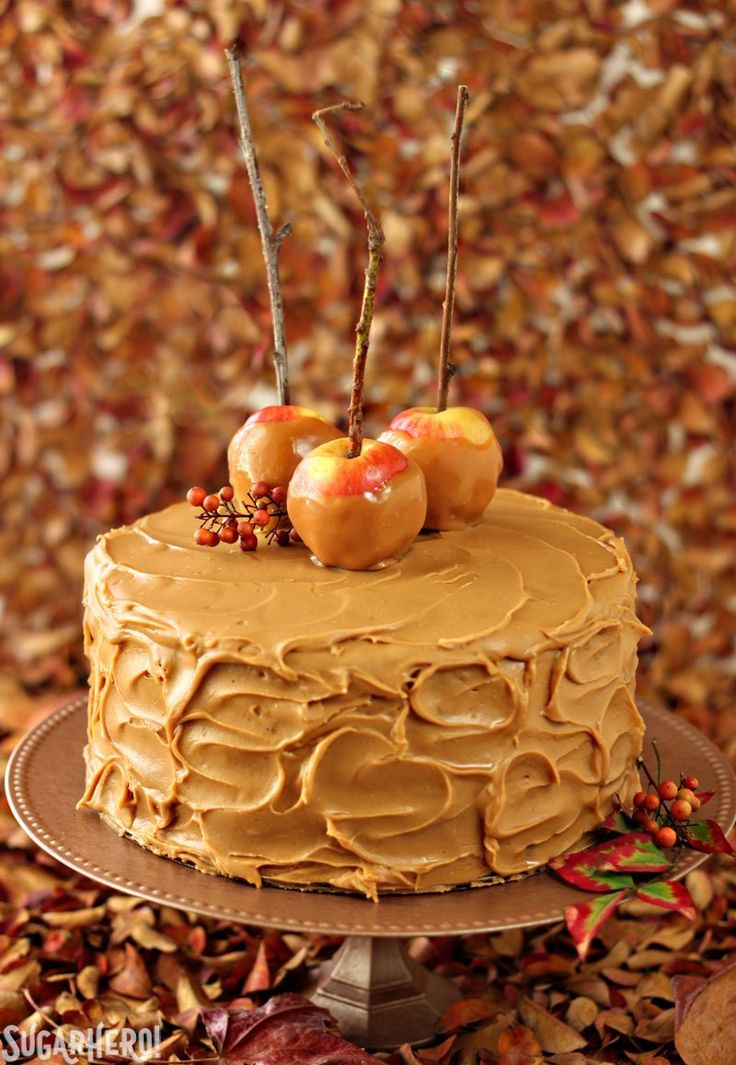 Caramel Apple Cake with outrageous salted caramel frosting!   From SugarHero.com