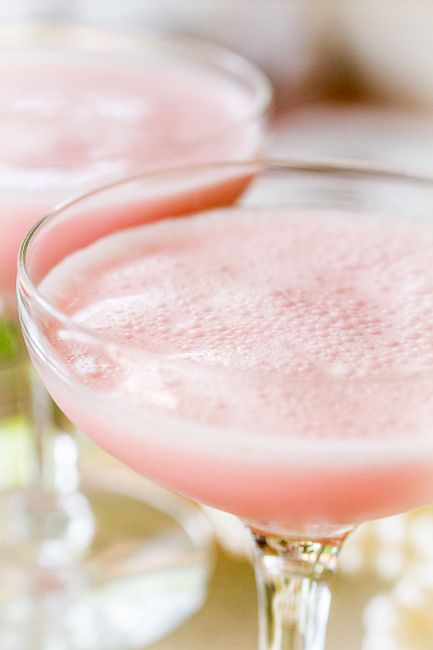 Charleston Pink Lady Cocktail recipe. This pretty cocktail would be perfect for Mother's Day or Valentine's Day or weddings or wedding showers.