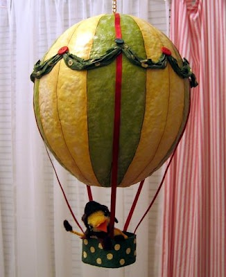 paper mache hot air balloon ... would make a cool light fixture