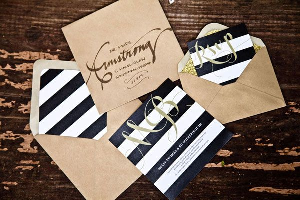 Black, White, and Gold Invitations...if you went with the nautical theme, you could do navy stripes