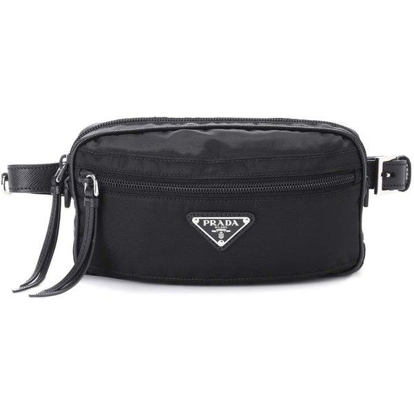87b0aad453b4 Prada Belt Bag ($610) ❤ liked on Polyvore featuring bags, black, bum bag,  fanny bag, belt bag, fanny pack bags and waist pack bag