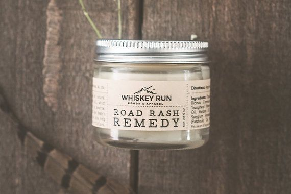Road Rash Remedy by WhiskeyRunCo on Etsy. For skateboarders, surfers, snowboarders, rock climbers, or kids who keep biting the dust. Great on skin abrasions. Helps them recover quick!
