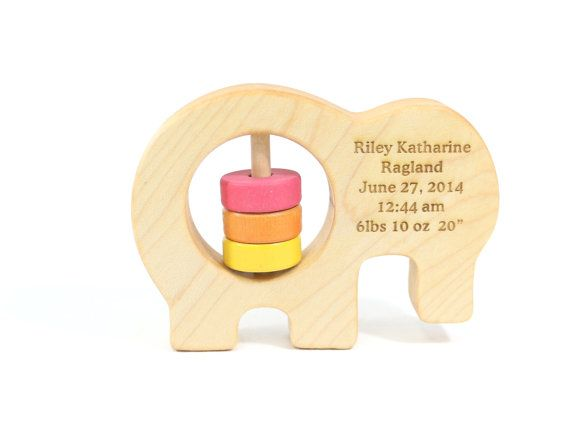 Wooden Elephant Baby Rattle - Organic Wooden Baby Toy by Bannor Toys