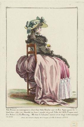 """""""Jolie Femme en contemplative, vêtuë d'une Robe blanche unie et d'un Jupon garni de Mousseline raïée, avec Mantelet de Gaze à mouche et grand Fichu de Col, le Chapeau noué d'un Ruban à la Marlboroug: Elle tient sa Tabatiere ouverte et ne songe à rein moins qu'a s'en servir"""", Gallerie des Modes, 1784; MFA 44.1568"""
