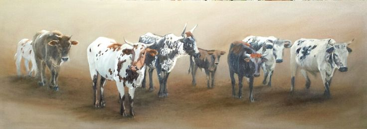 Nguni on the Road II, Oil on Canvas,1000 x 350 mm. Made as a commission. SOLD.