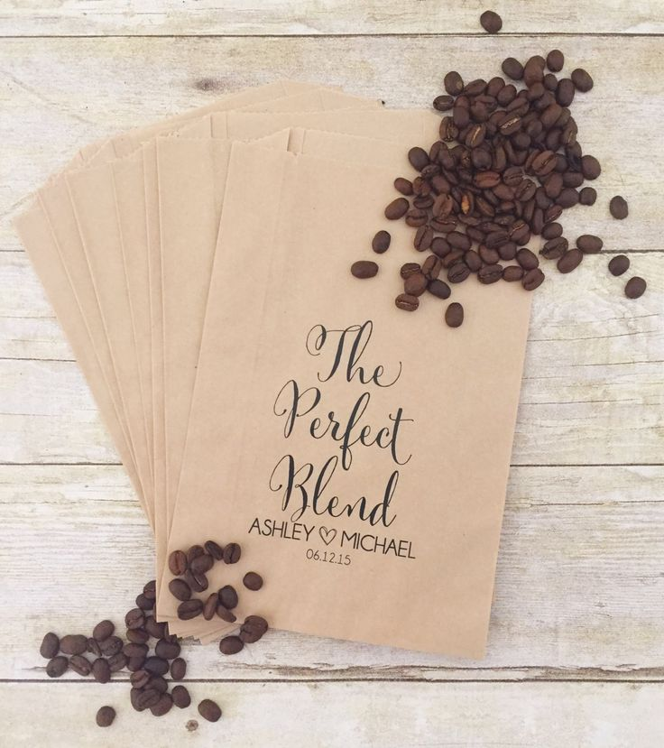 The Perfect Blend, Coffee Wedding Favors, Coffee Favors, Coffee Bags, Wedding Coffee, Personalized Wedding Favors, Favor Bags, Treat Bags by PoppyandErie on Etsy https://www.etsy.com/listing/384546882/the-perfect-blend-coffee-wedding-favors
