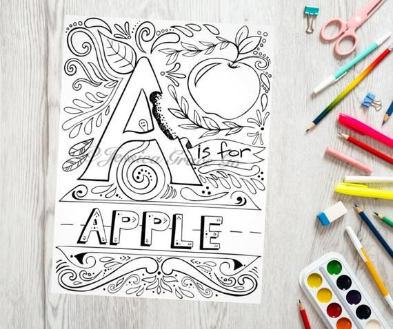 Alphabet Coloring Page Abc Coloring Pages For Kids Coloring Etsy Coloring Pages Abc Coloring Pages Alphabet Coloring Pages