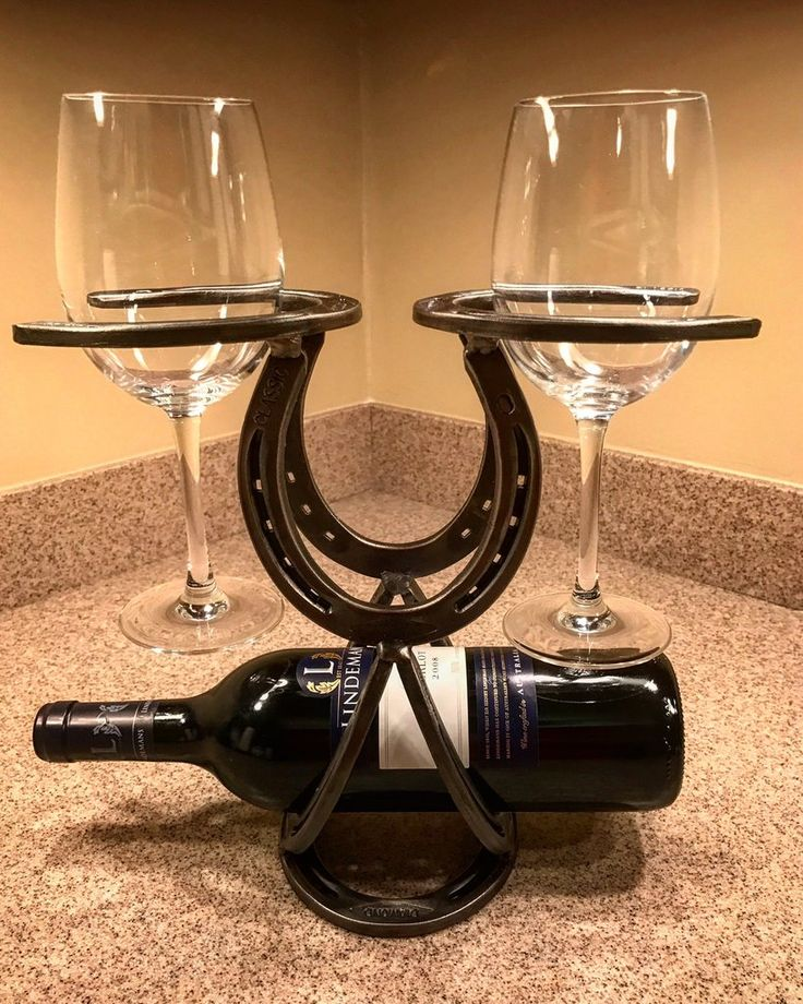 Handcrafted Horseshoe Wine Rack