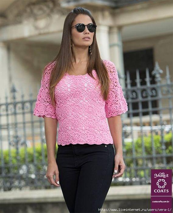 Розовая блуза квадратными мотивами