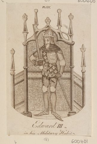 An etching in red ink of Edward III, King of England. Whole length with crown, helmet, full armour, and holding sword in right hand. Figure against an ornamented architectural background. With English inscription below. Cut down from an unknown text. Royal Collection Trust/© Her Majesty Queen Elizabeth II 2017